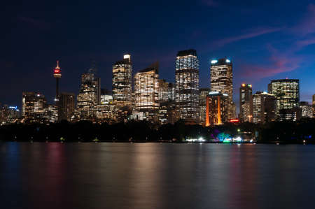 A nocturnal view of Sidney skyline, with its beautiful vivid skyscrapers
