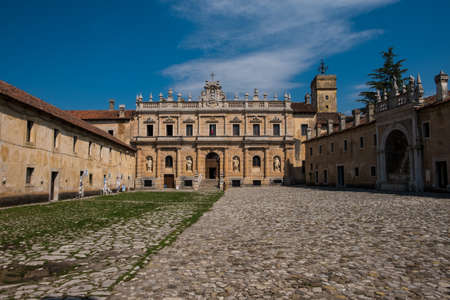 The Certosa of San Lorenzo, in Padula, Italy. It is a large Carthusian monastery, or charterhouse, located in the town of Padula, in the Cilento National Park, in Southern Italy.