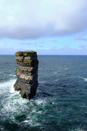 The famous rock stack of Downpatrick Head, Knockaun, Ballycastle, Co. Mayo, Ireland. It is one of the most spectacular places in Ireland.