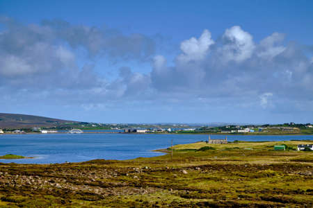 The view of the access bridge to Achill Island, County Mayo, Ireland, from the road from Corraun. Stock Photo