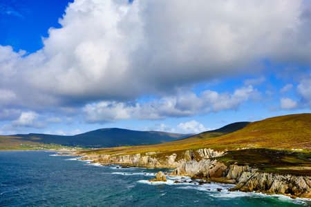 View of the rugged and wild coast on Achill Island, on the Wild Atlantic Way, Ireland, near Ashleam Bay Beach, from the southwestern side of the island.