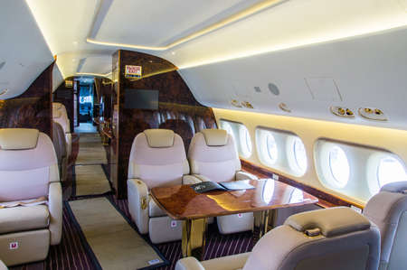 Luxury interior of genuine leather in the modern business jet