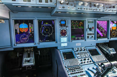 Zhukovskiy, Russia - August 28, 2015: Sukhoi Superjet 100 RA-89034 Yamal Airlines cockpit view