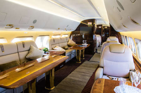 Luxury interior of genuine leather in the modern business jet Imagens