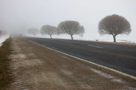 Road in the winter in the country. A fog. Along road silhouettes of trees are ....visible. In a distance the car with working headlights is visible photo