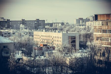 Winter urban toned landscape of residential area Stockfoto