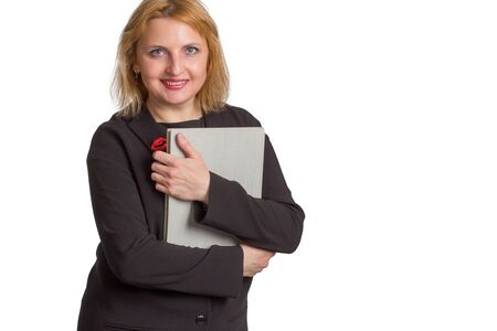 plus size caucasian business office woman. isolated in white. holding a folder with documents or a book