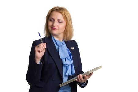 plus size caucasian business office woman. isolated in white. writes on a folder with documents or an accounting book 版權商用圖片