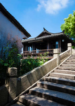 west gate: Tongxiang County, Jiaxing City,  Wuzhen West Gate Scenic Area, pictured is a tea house. Editorial