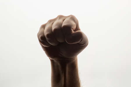 closed fist sign: hand on a white background Stock Photo