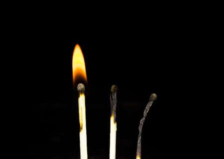 cerillas: fósforos quemados Foto de archivo