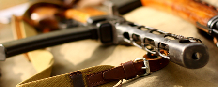 the silencer: The PPSh-41 pistolet-pulemyot Shpagina retro background Stock Photo