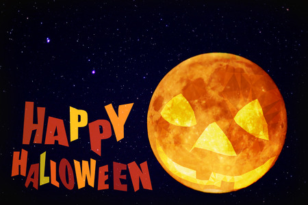 Happy halloween pumpkin moon with star at dark night sky blank card background Stock Photo
