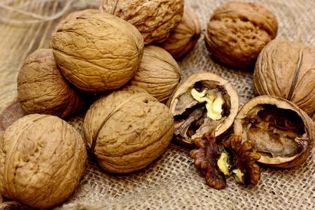 Walnuts open nuts core. Natural organic farmer food concept. Stock Photo