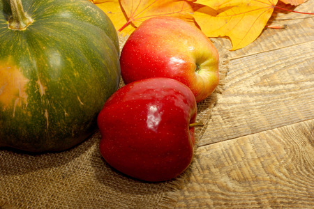 caes: Apples and pumpkins for Thanksgiving Day on fall autumn leaves on wooden background with copyspace for you text. Foto de archivo