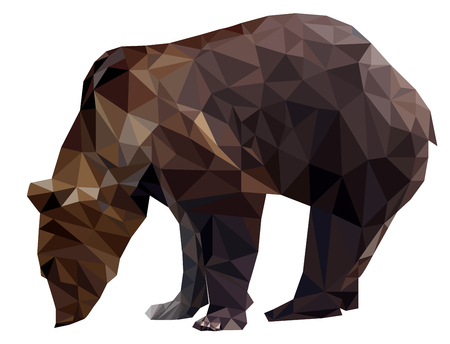Vector Geometric polygon silhouette brown bears grizzly on transparency white background