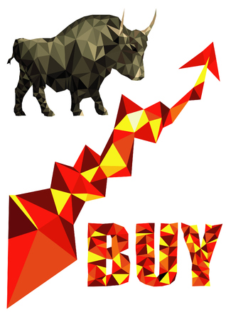 Vector polygon Illustration of bull buy symbol of stock market trend with red up arrow