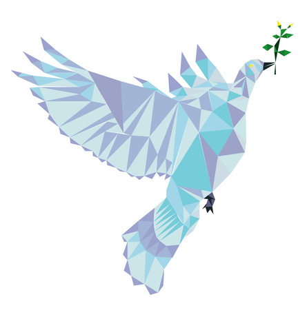 Polygon Vector dove of peace. Peace pigeon with green brush symbol of peace. Vectores