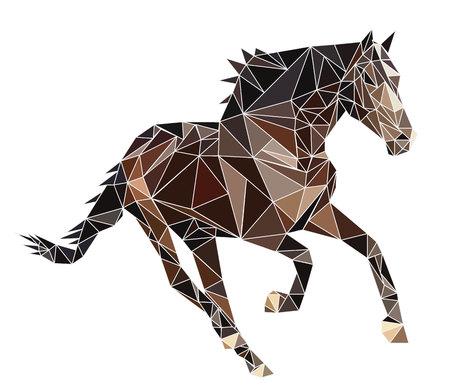 孤立したポリゴン ブラウン ウクライナ馬が走る。ベクター、白い背景の上の種牡馬の多角形、抽象的なイメージ。