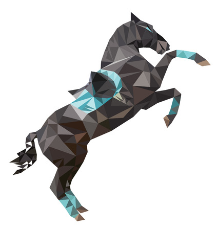 Isolated polygon dark sport horse rearing up with saddle. Vector, polygonal, image of a stallion on white background. Çizim