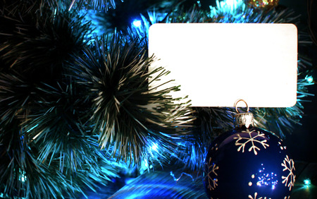 textur: Background for Christmas or New Year greetings card. Blue colors with copyspace blank card. Stock Photo