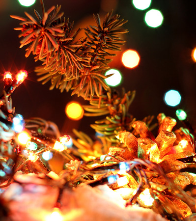 celebrat: Merry Christmas, Happy New Years garland colorful lights in night snow with bokeh dark colorful background. Green brunch tree and fir-cone