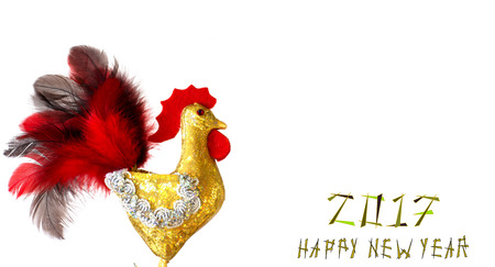 happy new year banner: Happy New Year 2017 on the Chinese calendar of rooster template card with hand made craft gold rooster and decorated text design font. Isolated on white background. Copyspace place for text. Stock Photo