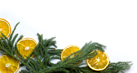 market bottom: Christmas bottom corner border frame of fir tree branch, golden pine cones, dry oranges fruit. New Year`s background for card, market winter sale banner or poster with copyspace for text. Isolated.