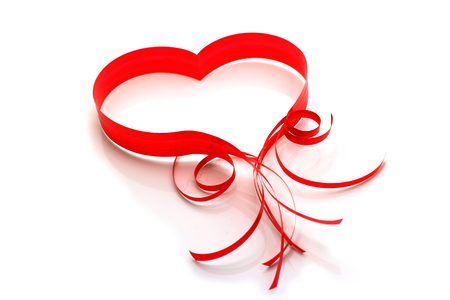 Love card with heart of red ribbon on white background isolated. 14 February. Concept for Valentines day.