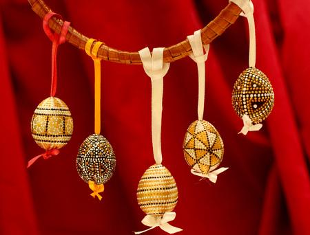 Handmade decorated Easter eggs. 版權商用圖片