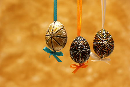 Easter decorated eggs. Template for congratulations card with spring background.