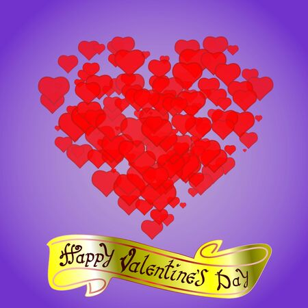 Happy Valentines day. Hand Drawing Vector Lettering design. The inscription on the gold ribbon. Red hearts on blue background. Concept for congratulations card. 向量圖像
