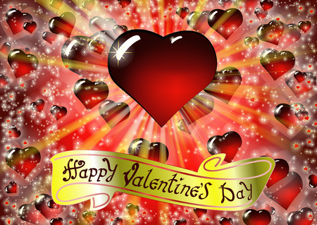 Happy Valentines day card with Drawing Lettering design. The inscription on the gold ribbon. Colorful vector illustration with bright rays of light and Realistic glass red heart on background.
