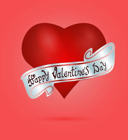 Happy Valentines day. Hand Drawing Vector Lettering design. The inscription on the silver ribbon. On realistic red heart background. Concept for congratulations card.