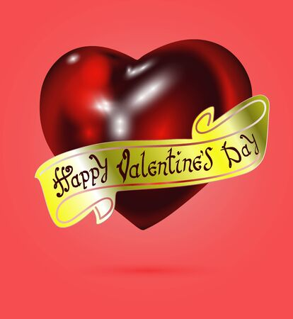 Happy Valentines day. Hand Drawing Vector Lettering design. The inscription on the gold ribbon. Realistic red heart on background. Concept for congratulations card. 向量圖像