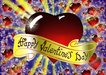 Happy Valentines day congratulations card design. The inscription on the gold ribbon. Colorful vector illustration with bright rays of light and Realistic glass red heart on background.