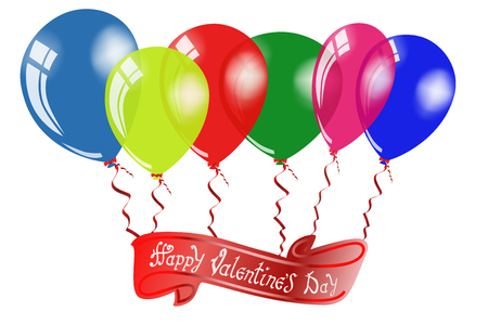 Happy Valentines day. Hand Drawing Vector Lettering design. Air Balloons with inscription on the red ribbon. Illustrate a white background isolated. Concept for congratulations card.