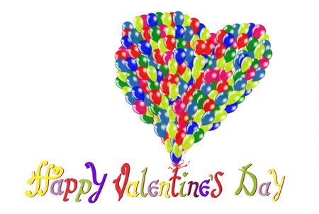 Happy Birthday To You inscriptions. Love symbol in Heart shape balloons. Vector illustrations for card on white background isolated. 向量圖像