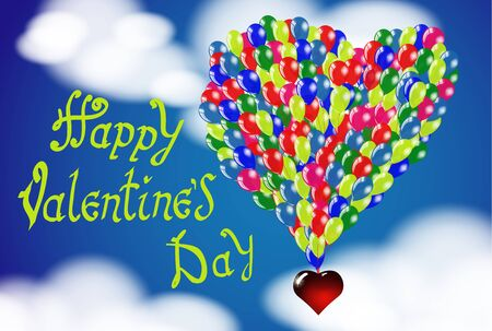 Happy Valentines day. Hand Drawing Vector Lettering design. Balloons in the shape of a heart on a background of the cloudy sky. Concept for congratulations card.