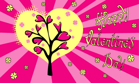 Happy Valentines day. Hand Drawing Vector Lettering Pop art design. The inscription on pink background with Love tree and hearts. . Concept for congratulations card.