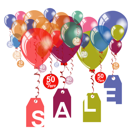 Up to 50% off Sale announcement banner template. Isolated on white background. Vector illustration with colorful air balloons and letters on label garland. 向量圖像
