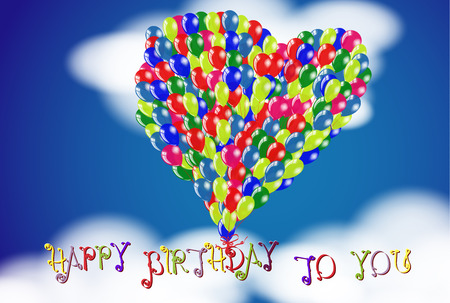 Happy Birthday To You heart shape balloons floating in the cloudy sky. Vector congratulations card background.