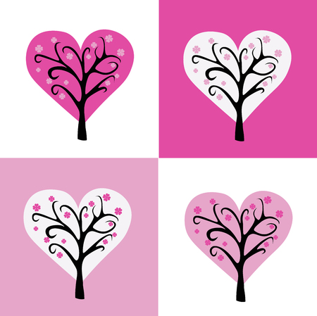 Love pattern background. Valentine blooming tree with flowers from hearts. Pink rose colors.