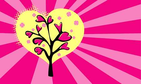 Love pattern background with retro style rays. Valentine blooming tree with flowers from hearts. Pink rose colors. Vector illustration.