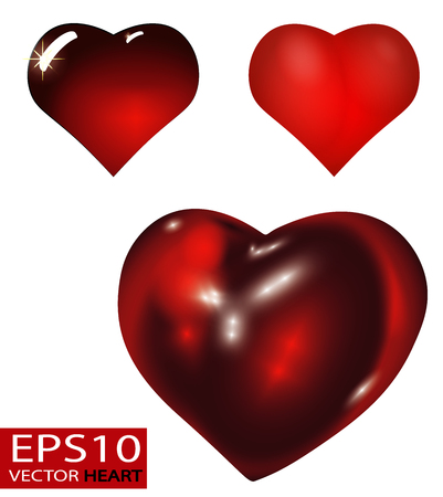 Set of Realistic 3D Valentine hearts vector. Red convex glass heart isolated on white background. 向量圖像
