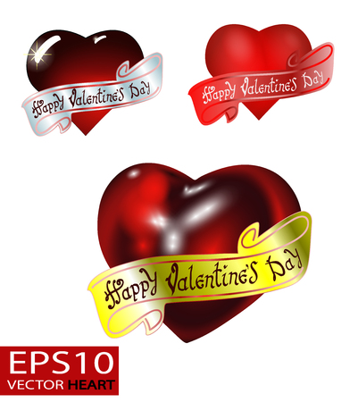 Happy Valentines day. Hand Drawing Vector Lettering design. The inscription on the ribbon. Set of Realistic 3D Valentine hearts vector. Red convex glass heart isolated on white background.