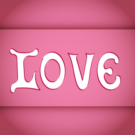 LOVE. Happy Valentines day vector card. Vintage Font Type.