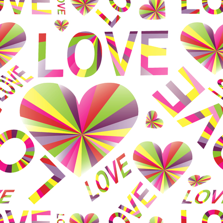Love background with retro style colorful rays. Valentine seamless pattern with symbols love of the hearts and word. Vintage pastel colors. Vector illustration.
