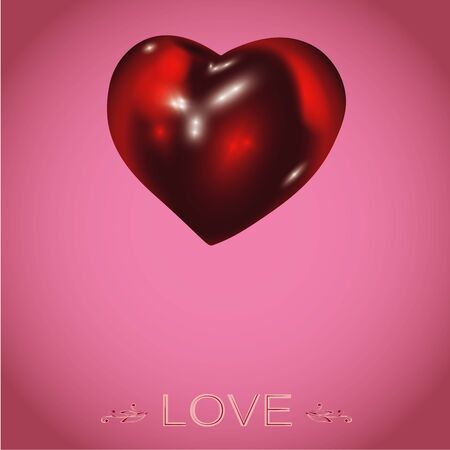 Realistic 3D Red glass Heart. Vector illustration. Sweetness pink color Background. Love design for St.Valentines Day.