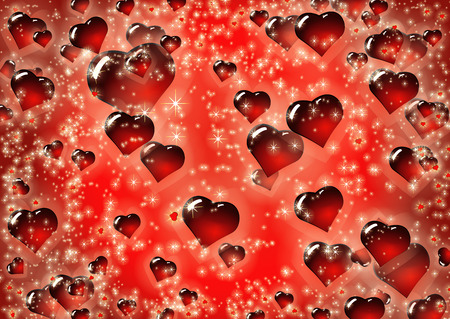 Valentine Hearts Abstract Red Background. Love texture for St.Valentines Day. Vector Illustration with volume convex glass heart. 向量圖像